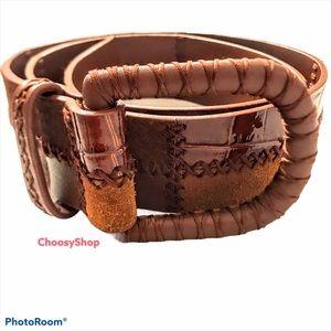 WCM Rust Leather Belt Patchwork Wide Rustic Boho